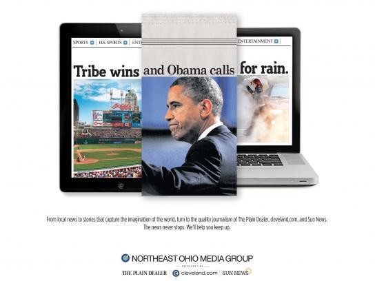 Northeast Ohio Media Group Print Ad -  Tribe-Obama-Rain