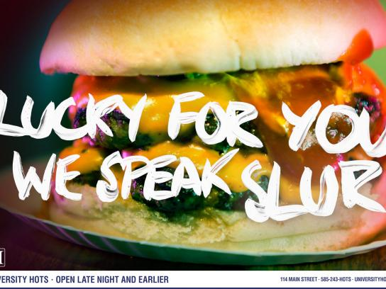 University Hots Print Ad -  Slur