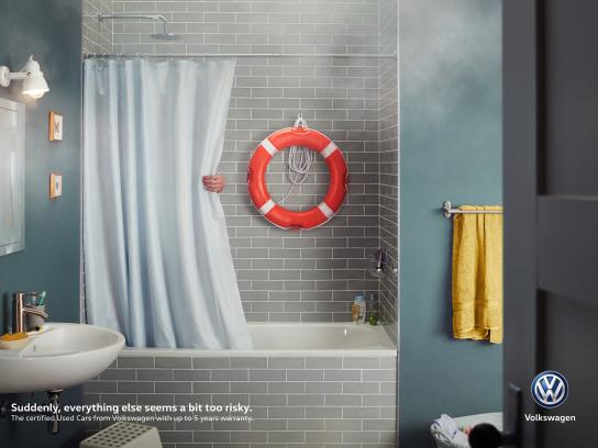 Volkswagen Print Ad - A Bit Too Risky - Shower