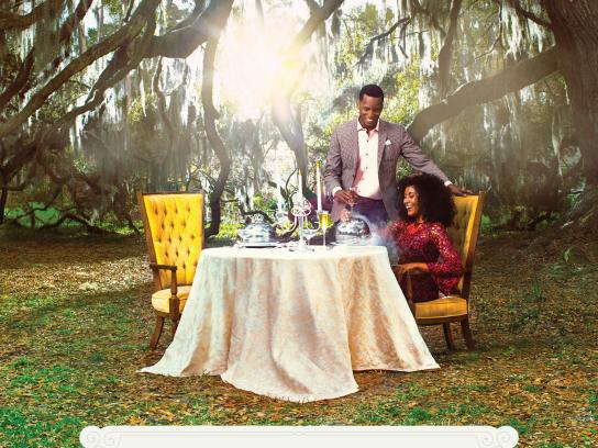 Visit Savannah Print Ad - Dining Under Majestic Oaks