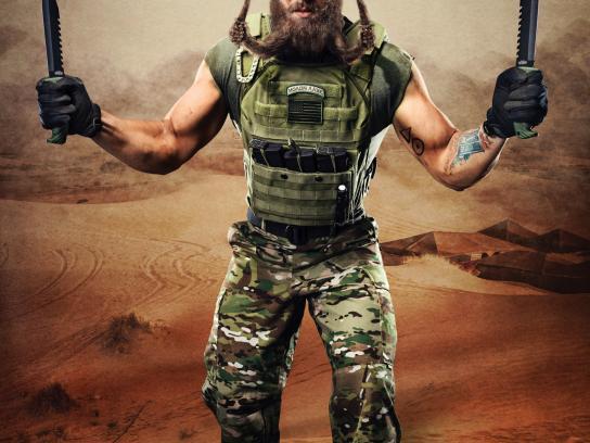 Warlord Beard Oil Print Ad - Knife fighter