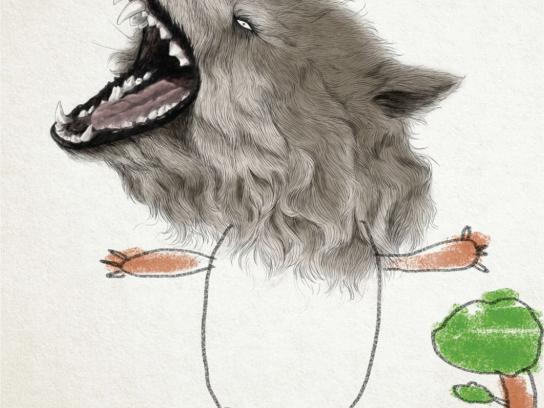 Kolor Me Print Ad -  Wolf