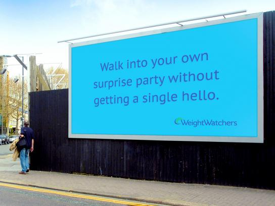 Weight Watchers Outdoor Ad - Surprise party