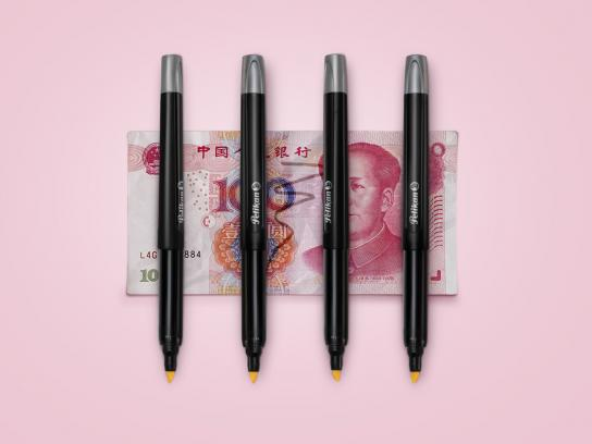 Pelikan Print Ad - Bills detector - Yuan