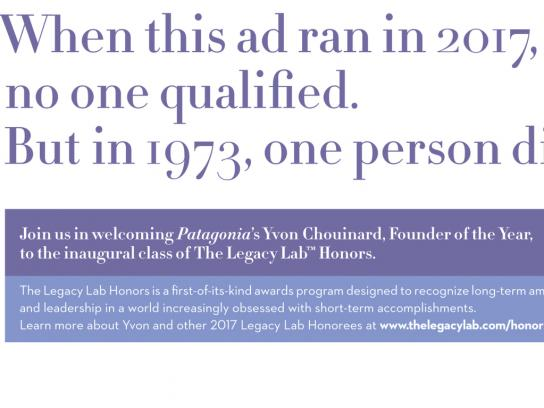 The Legacy Lab Print Ad - Visionaries Wanted - Yvon
