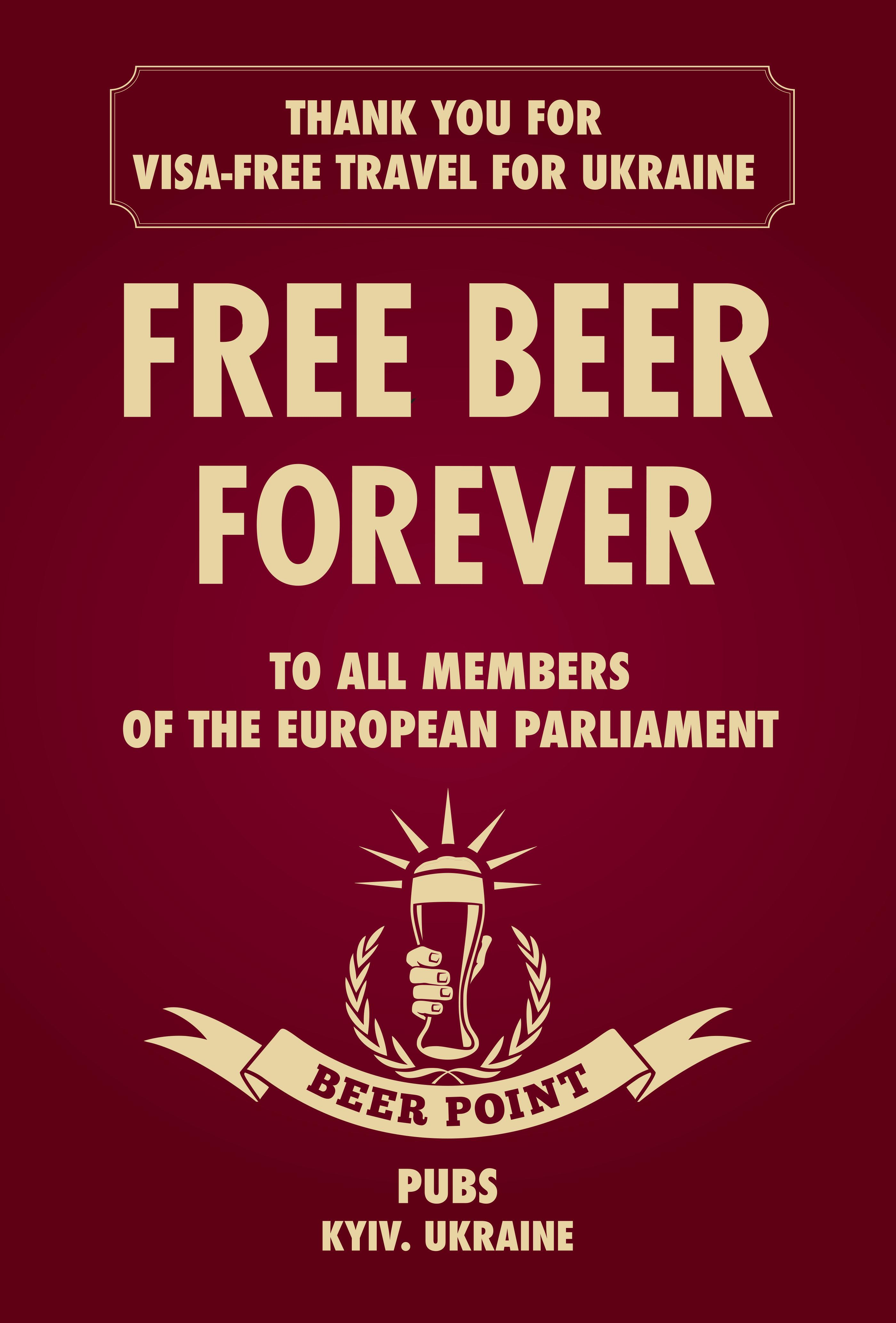 Pub Beer Point Integrated Ad - Free Beer for Euro MPs