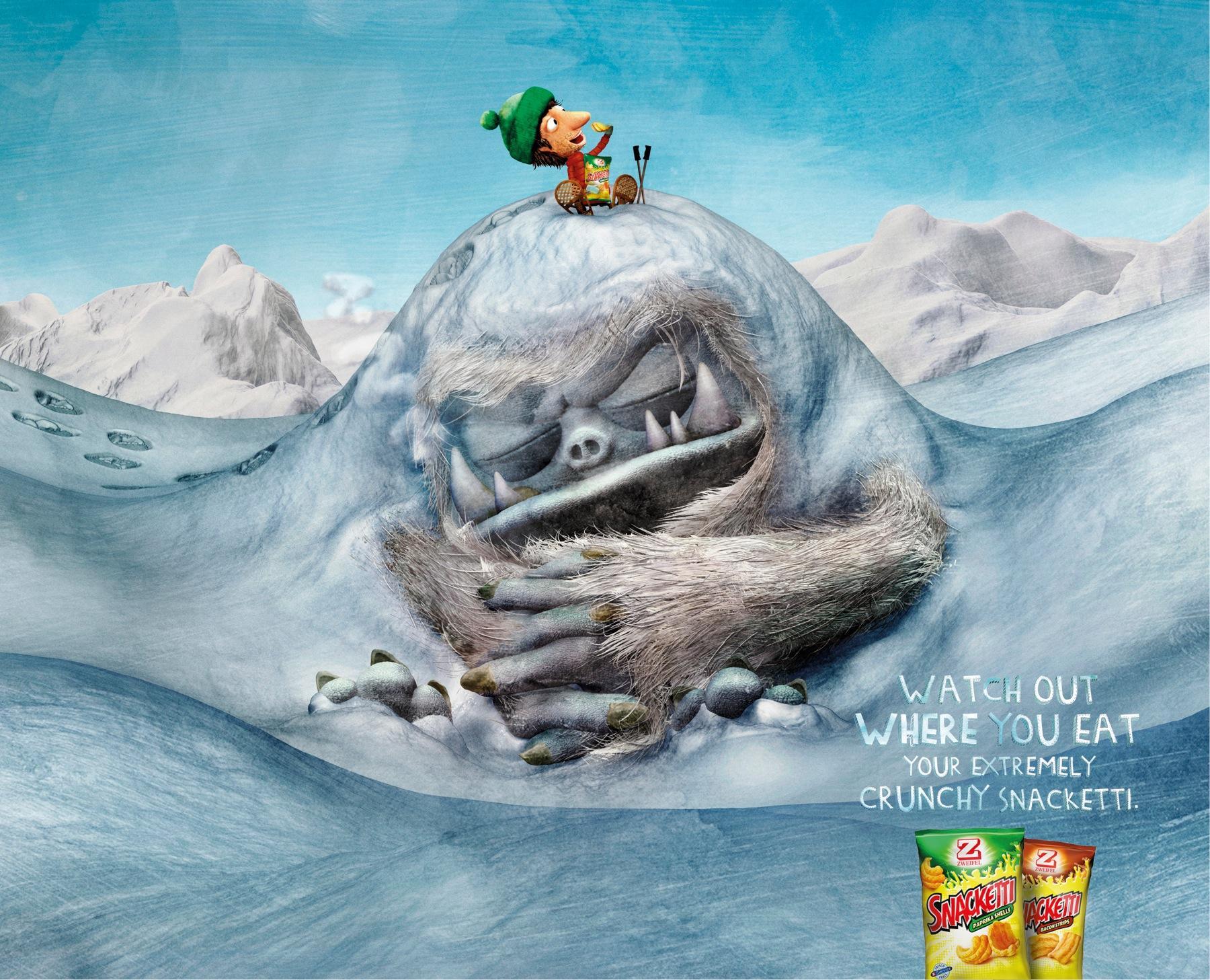Snacketti Print Ad -  Yeti hill