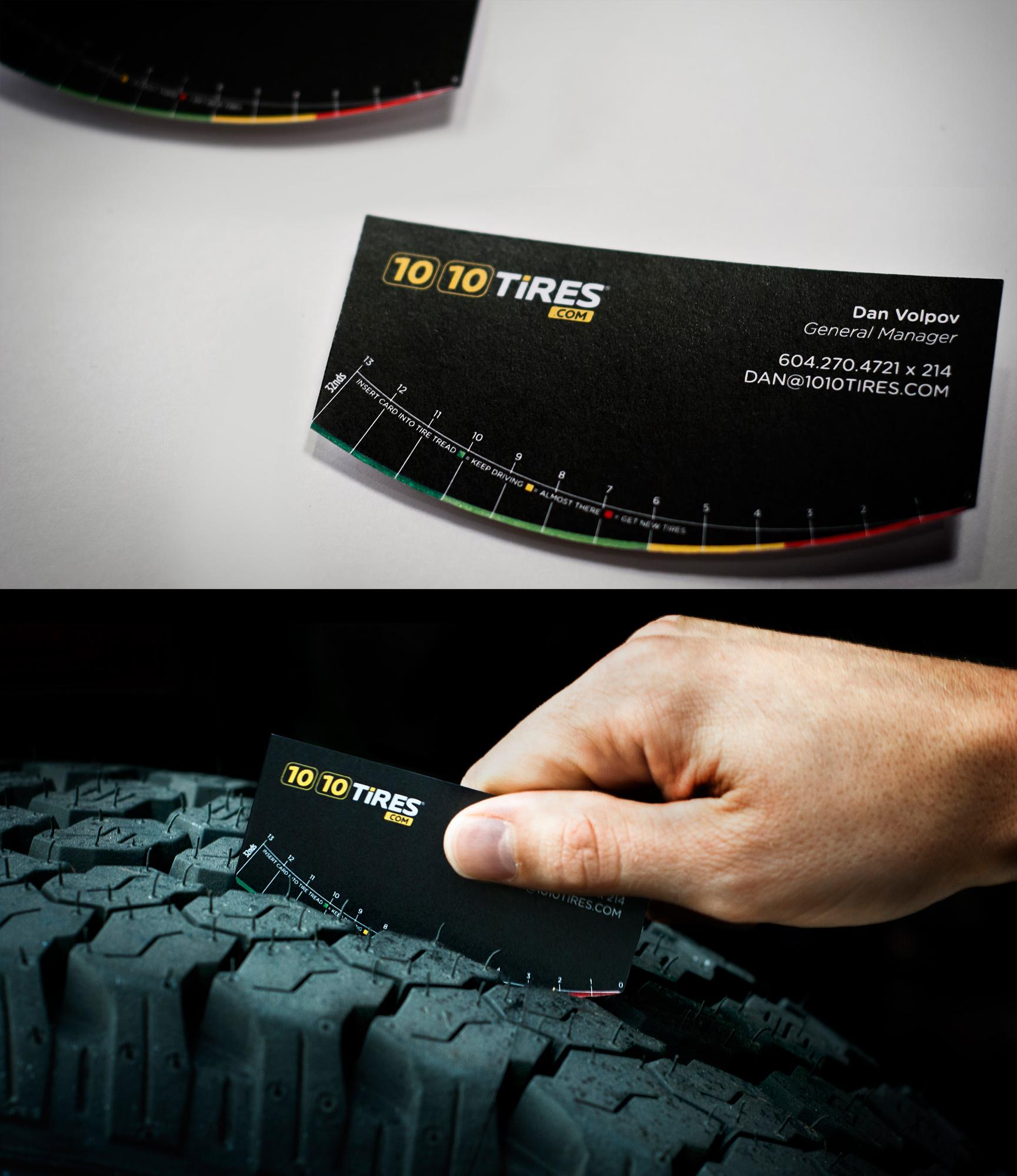 1010 Tires Direct Ad -  Tire tread business card