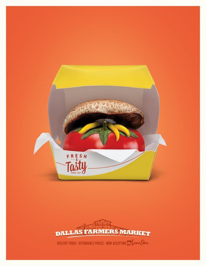 Dallas Farmers Market Print Ad -  Burger