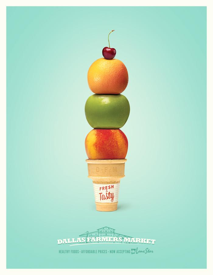 Dallas Farmers Market Print Ad -  Ice-cream cone