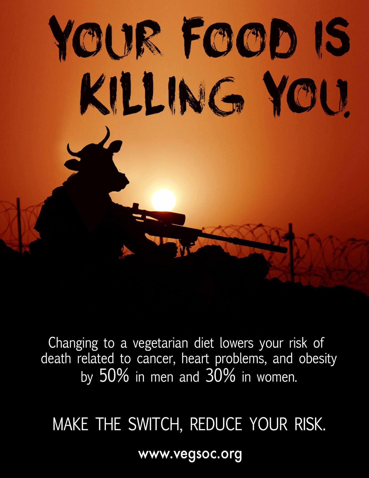Vegetarian Society Print Ad - Your food is killing you, 1