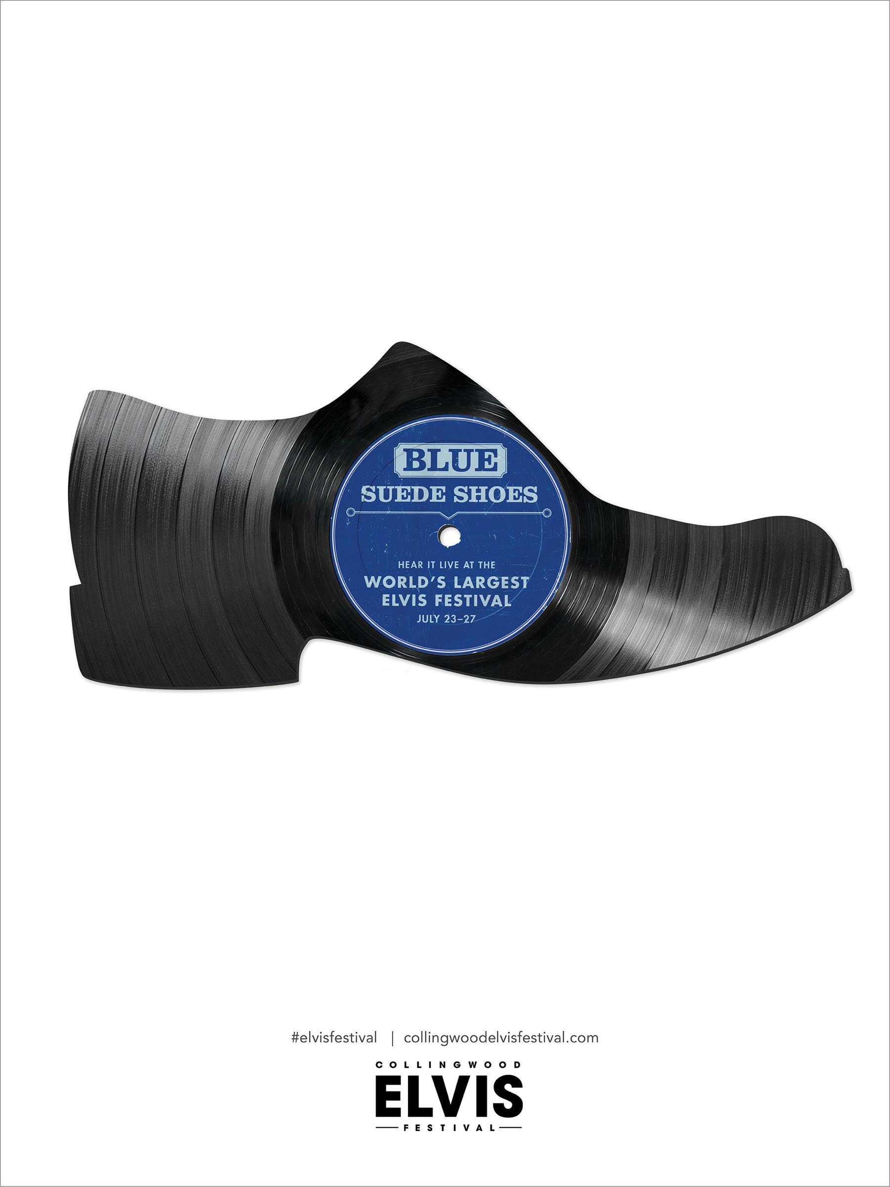 Collingwood Elvis Festival Print Ad -  Blue Suede Shoes