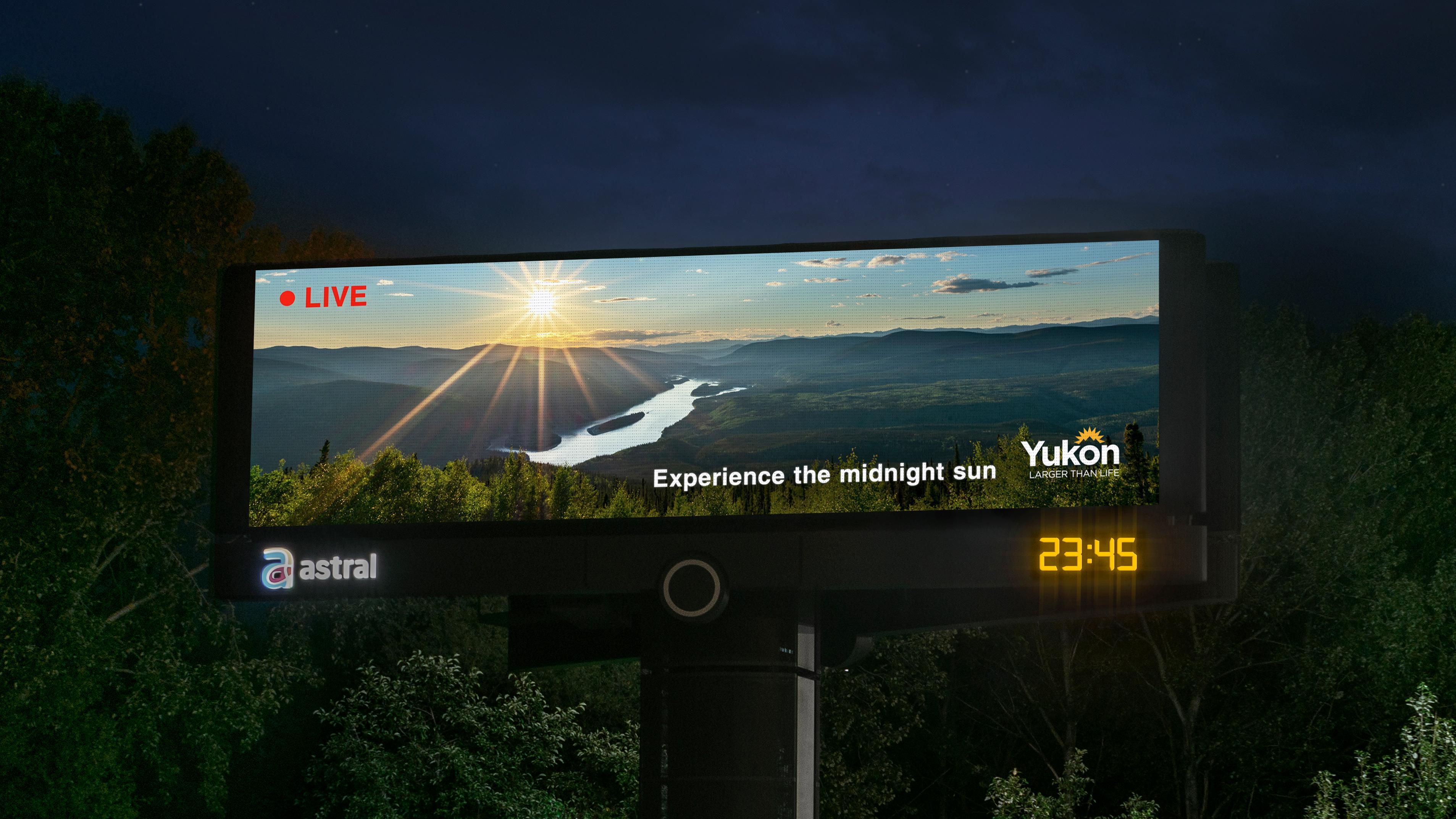 Tourism Yukon Outdoor Ad - Midnight Sun Stream