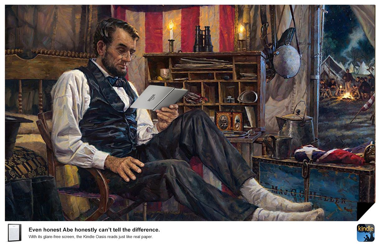 Kindle Print Ad - Can't Tell the Difference - Abe Lincoln