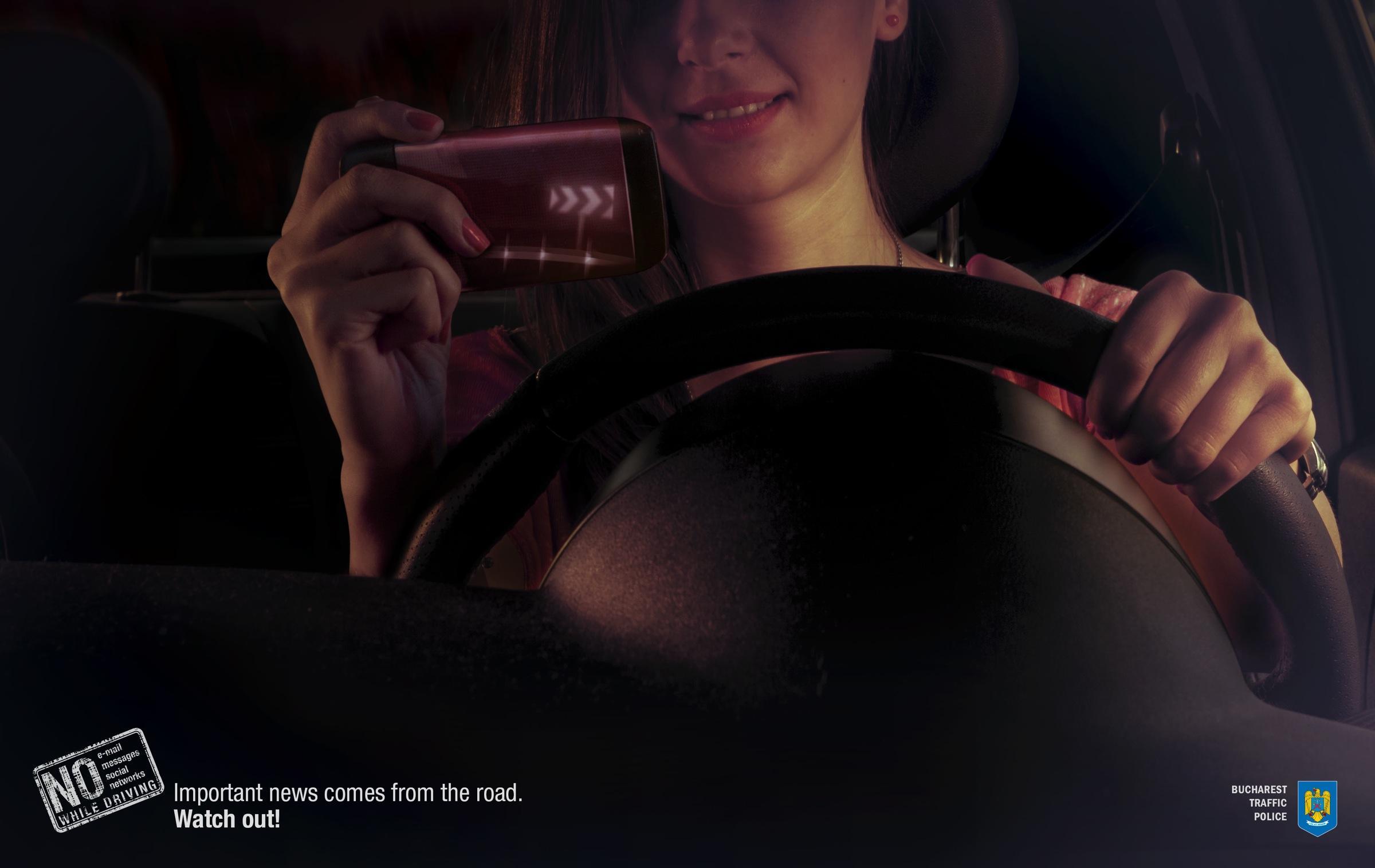 Bucharest Traffic Police Print Ad -  Dangerous bend