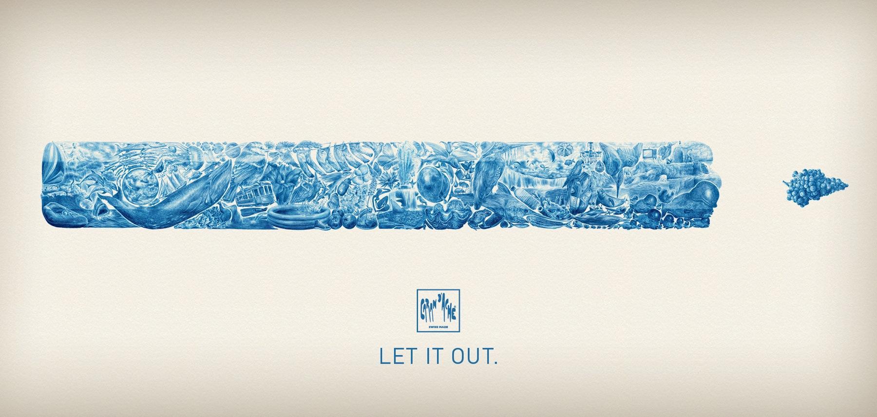 Caran d'Ache Print Ad -  Blue