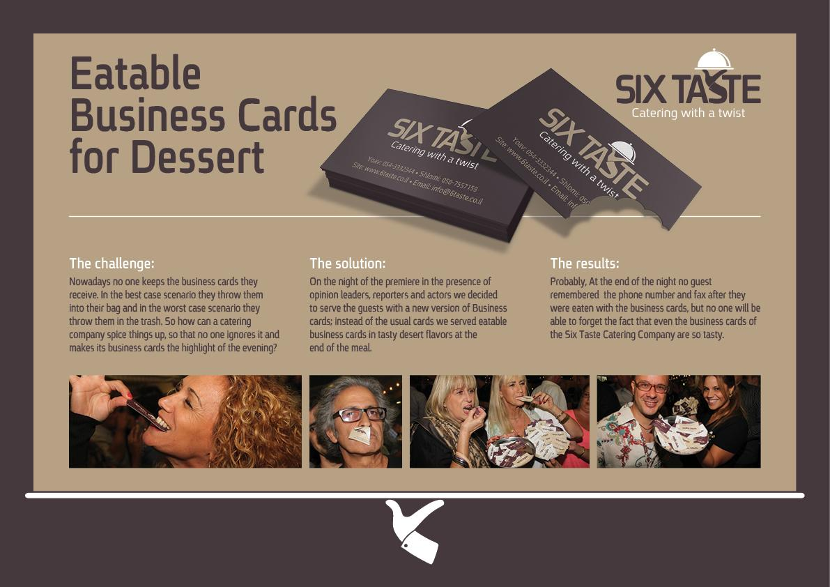 Six Taste Direct Ad -  Eatable business cards for dessert