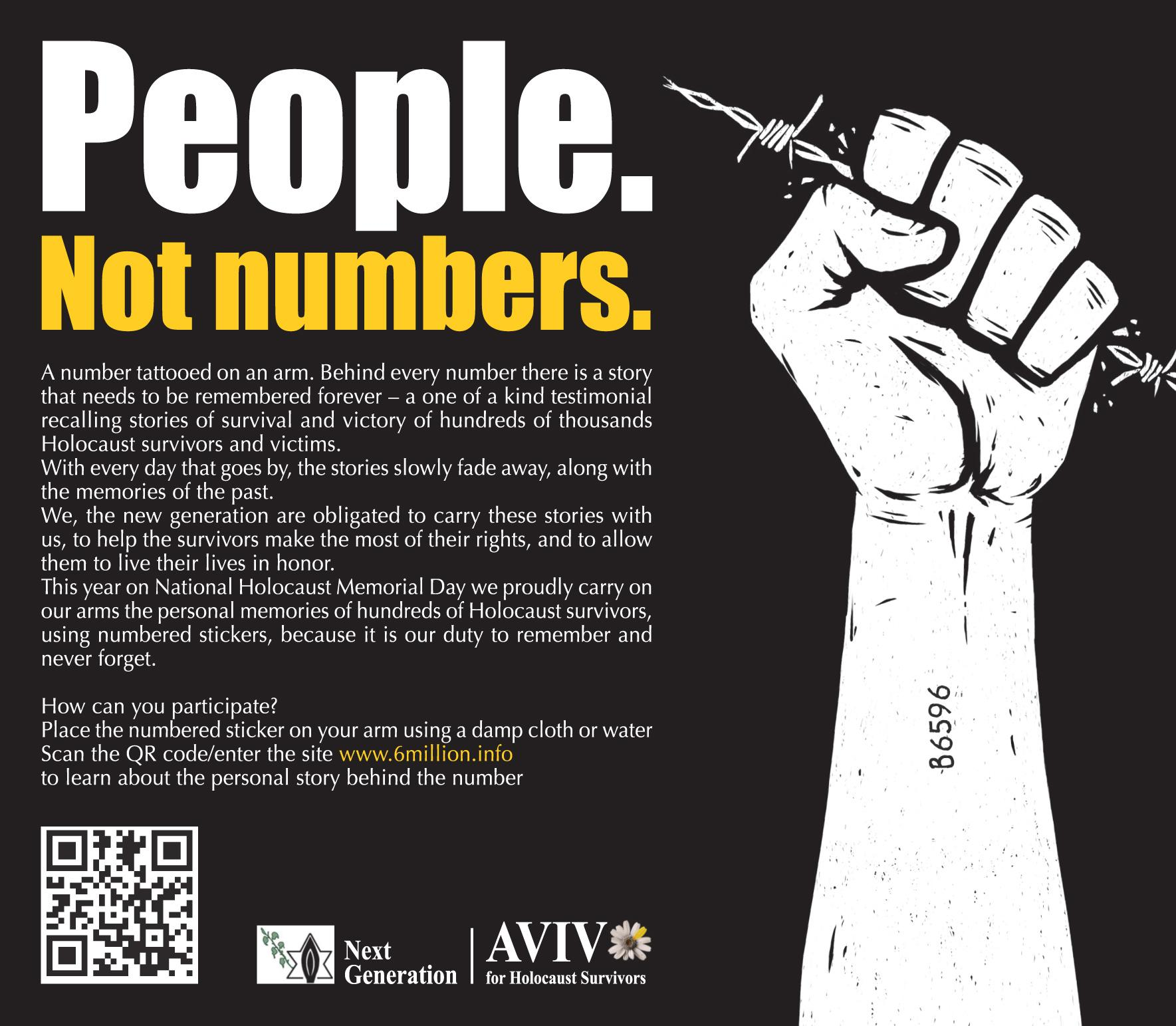 Aviv for Holocaust Survivors & Next Generation Print Ad -  People. Not numbers. 1