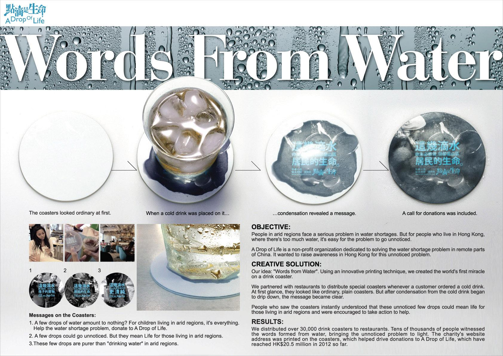 A Drop Of Life Direct Ad -  Words from water