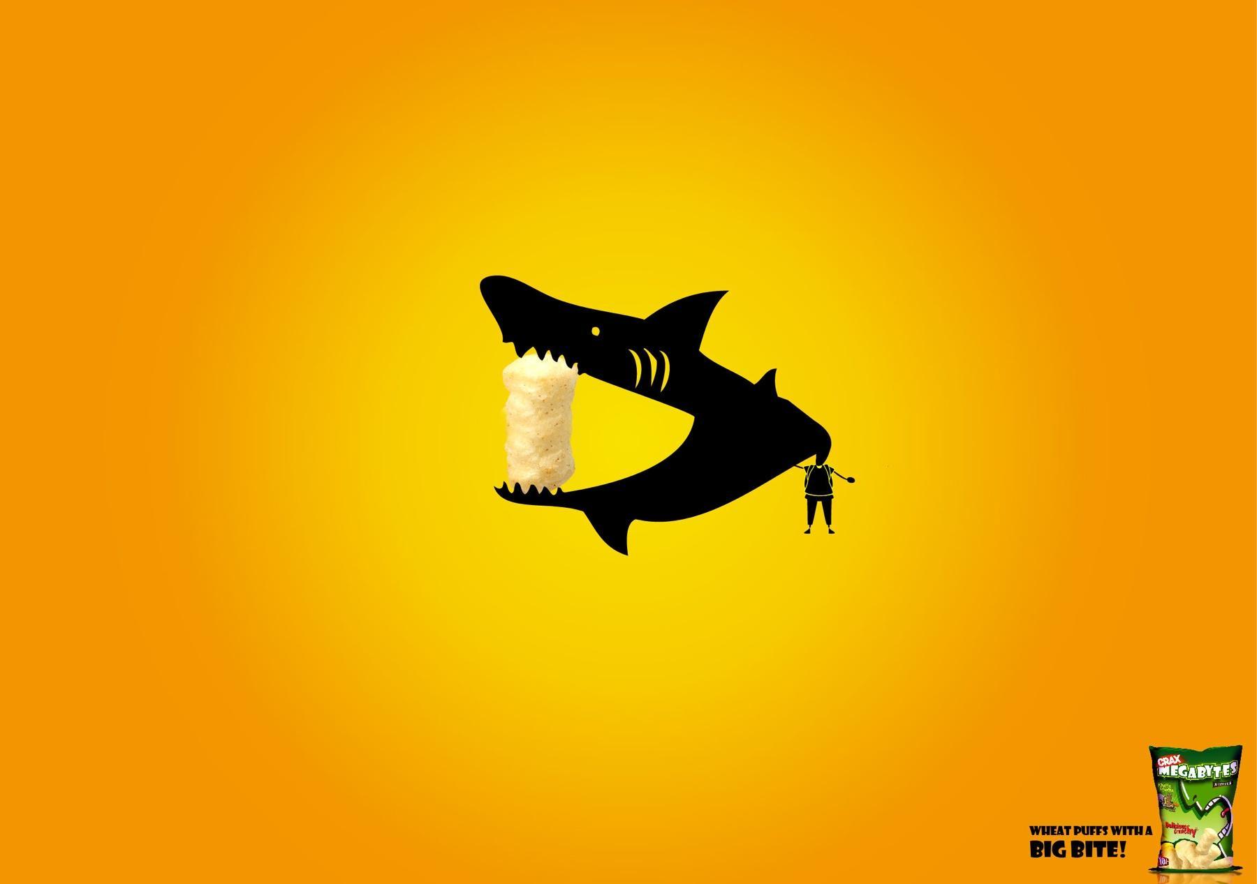 Crax puffs Print Ad -  Mouth Wide Open, Shark