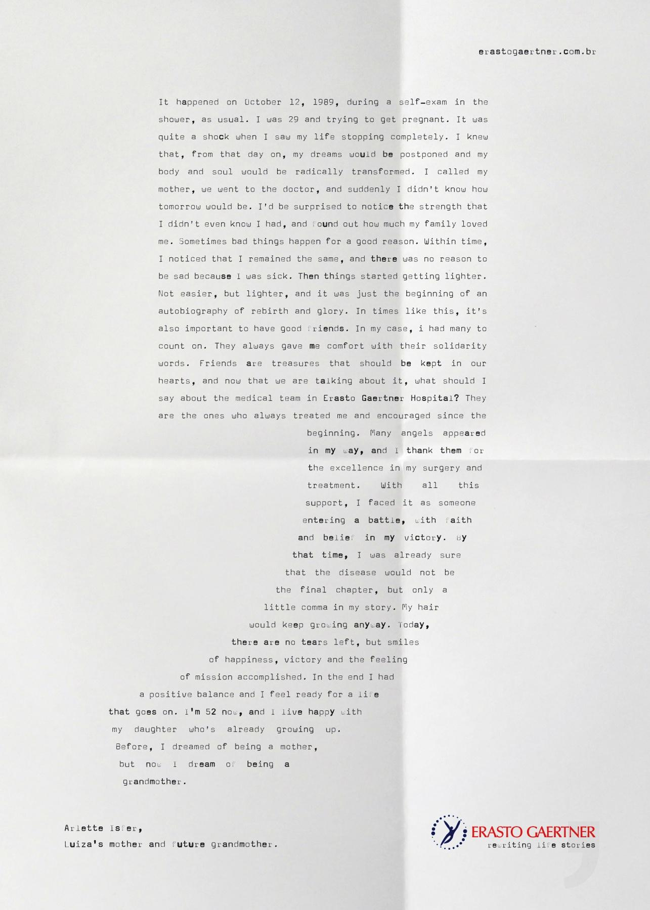 Hospital Erasto Gaertner Print Ad -  Rewriting life stories