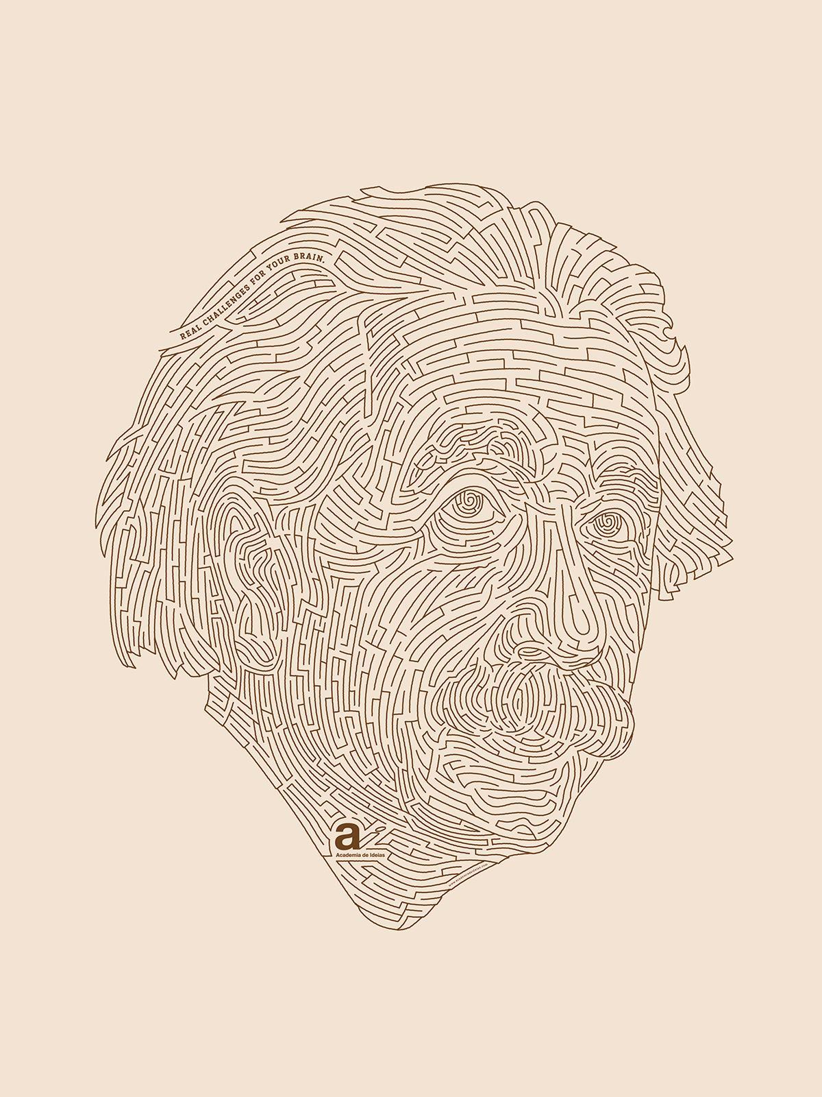 Academia de Ideias Print Ad -  Labyrinth, Einstein