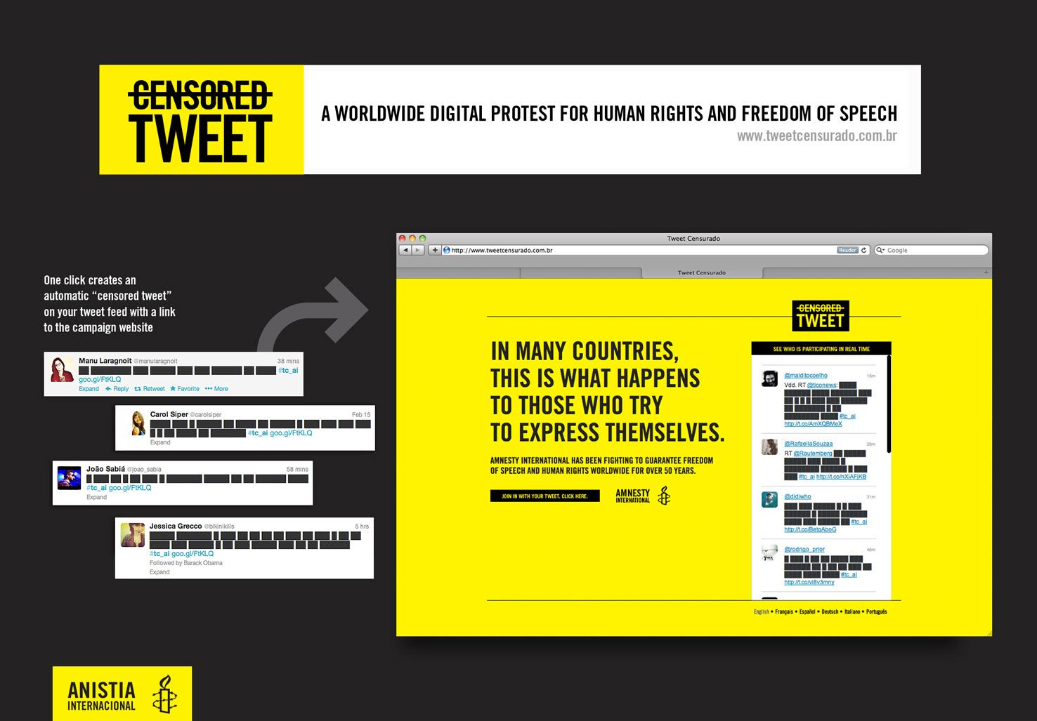 Amnesty International Digital Ad -  Censored tweets