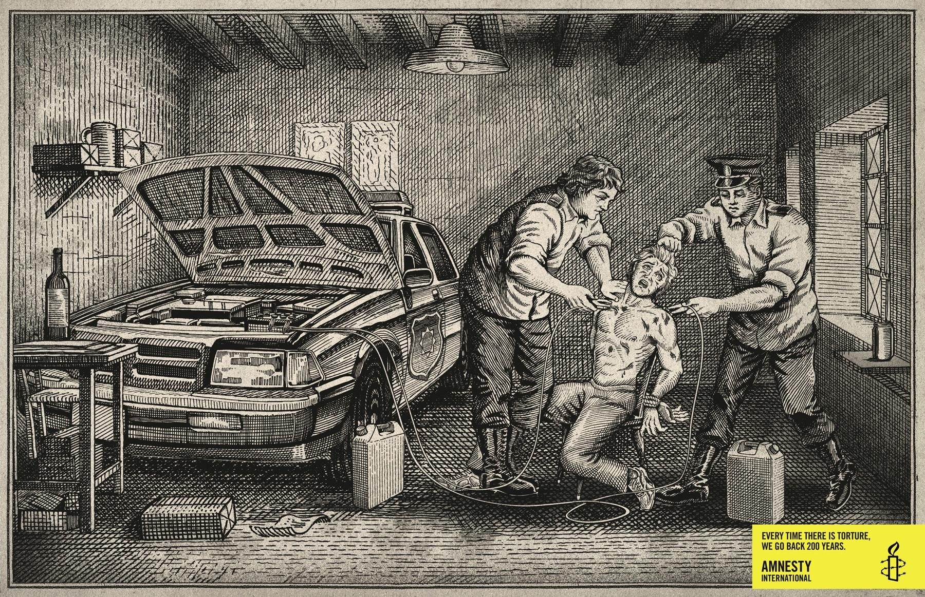 Amnesty International Print Ad -  Engraving
