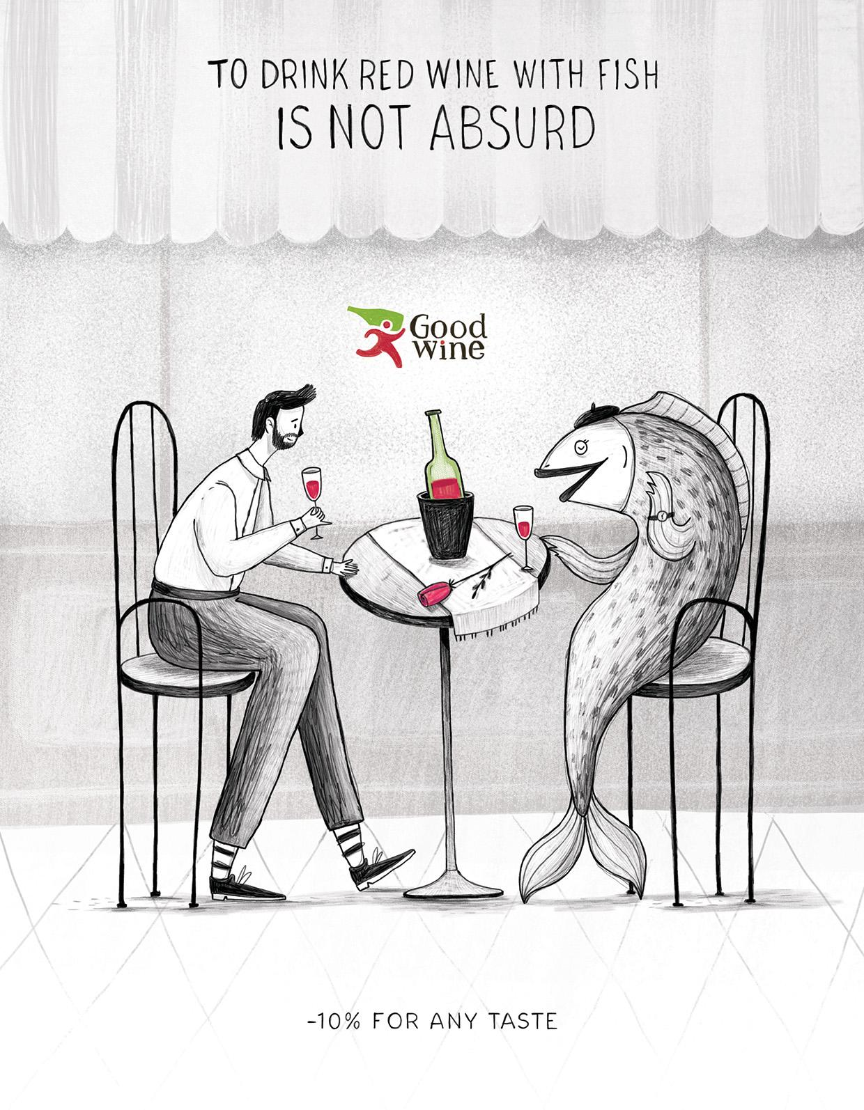 Good Wine Print Ad - To Drink Red Wine With Fish Is Not Absurd