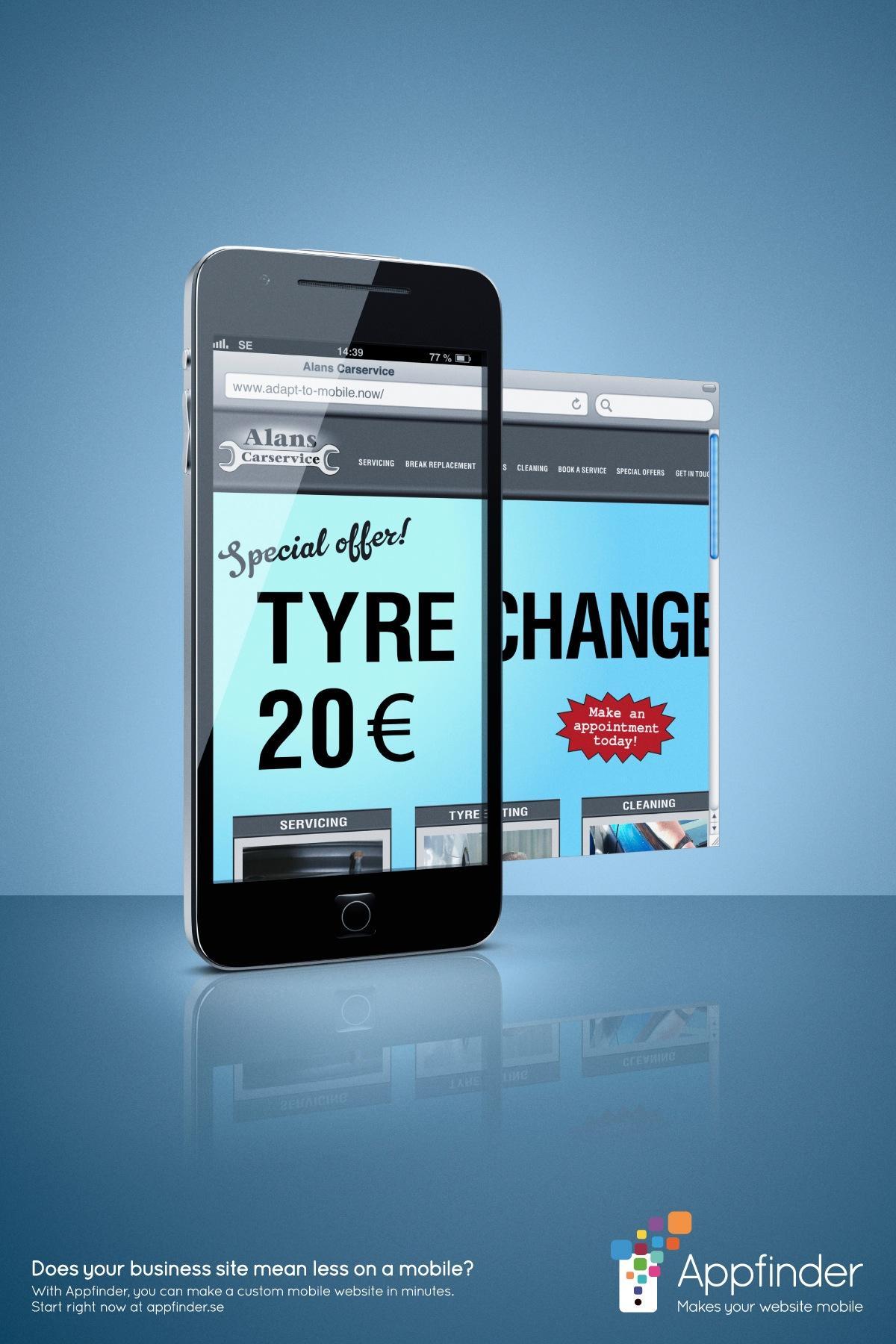 Appfinder Print Ad -  Tyre Change