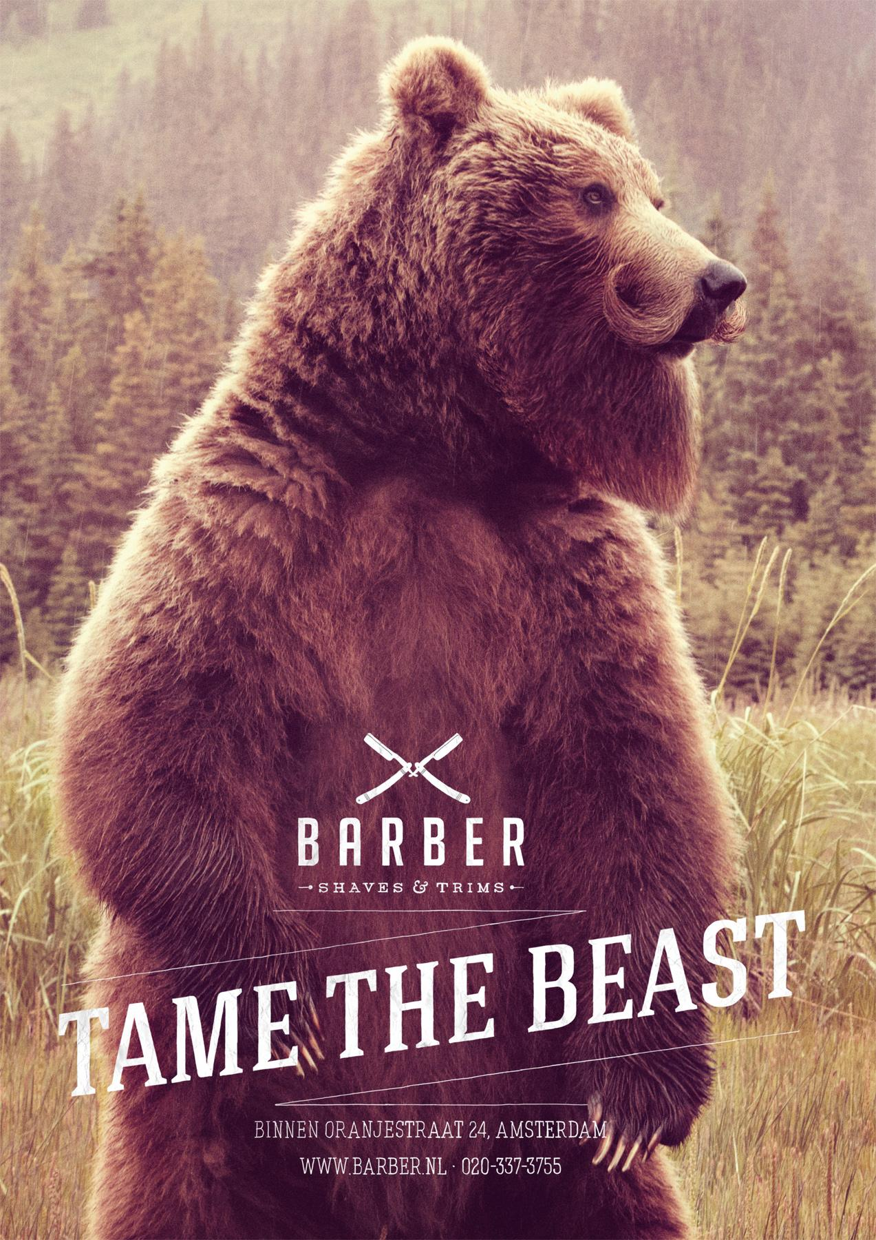 Barber Print Ad -  Tame the beast, Bear