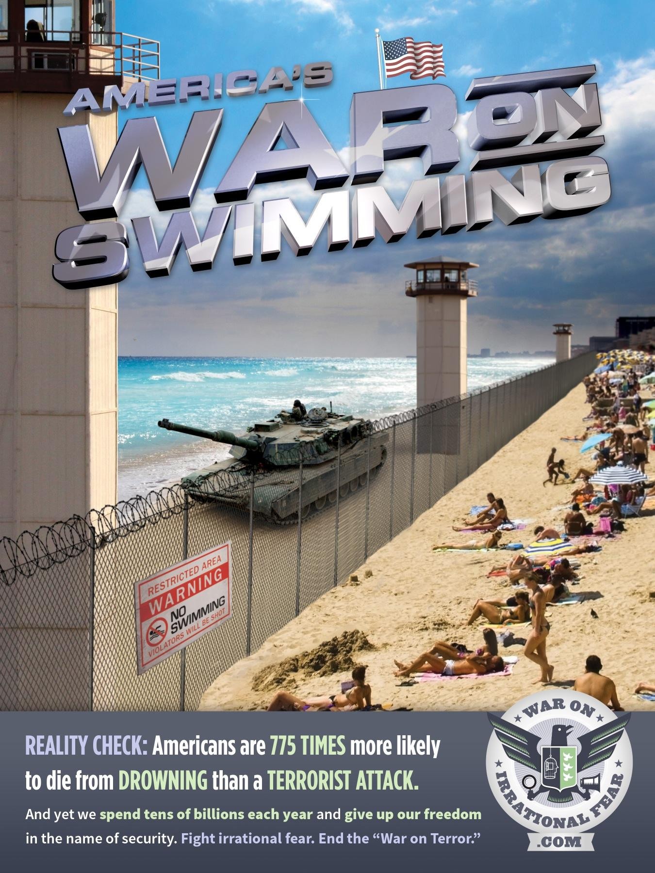 War on Irrational Fear Outdoor Ad -  Swimming