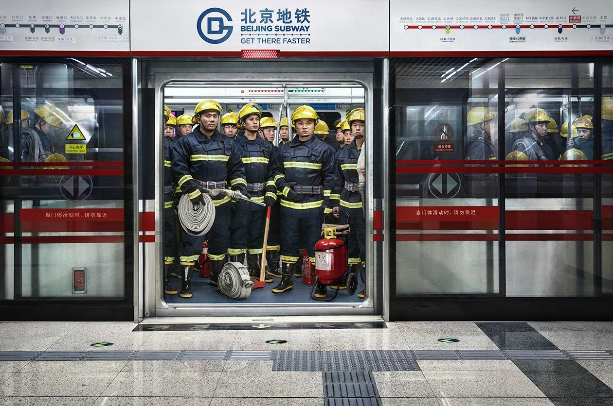 Beijing Subway Print Ad -  Firemen