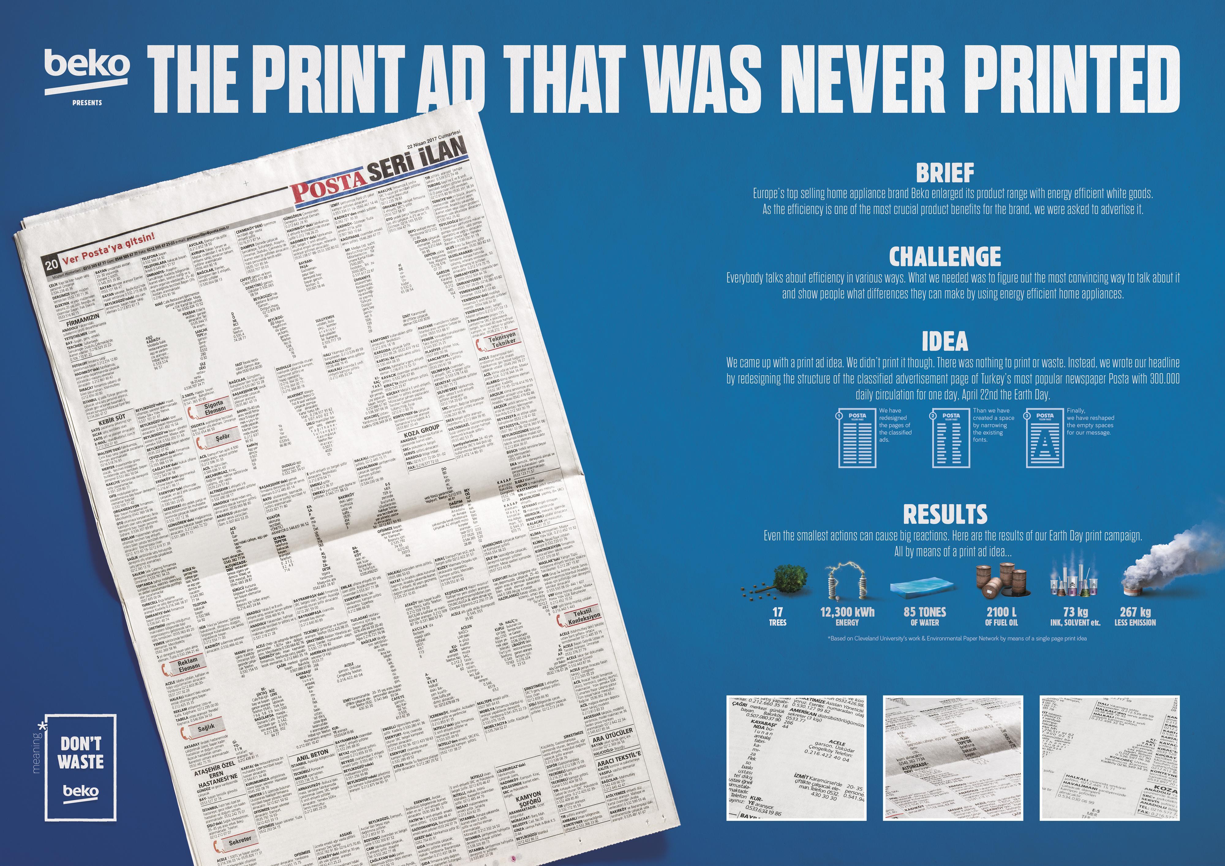 Beko Print Ad - Never Printed Print Ad