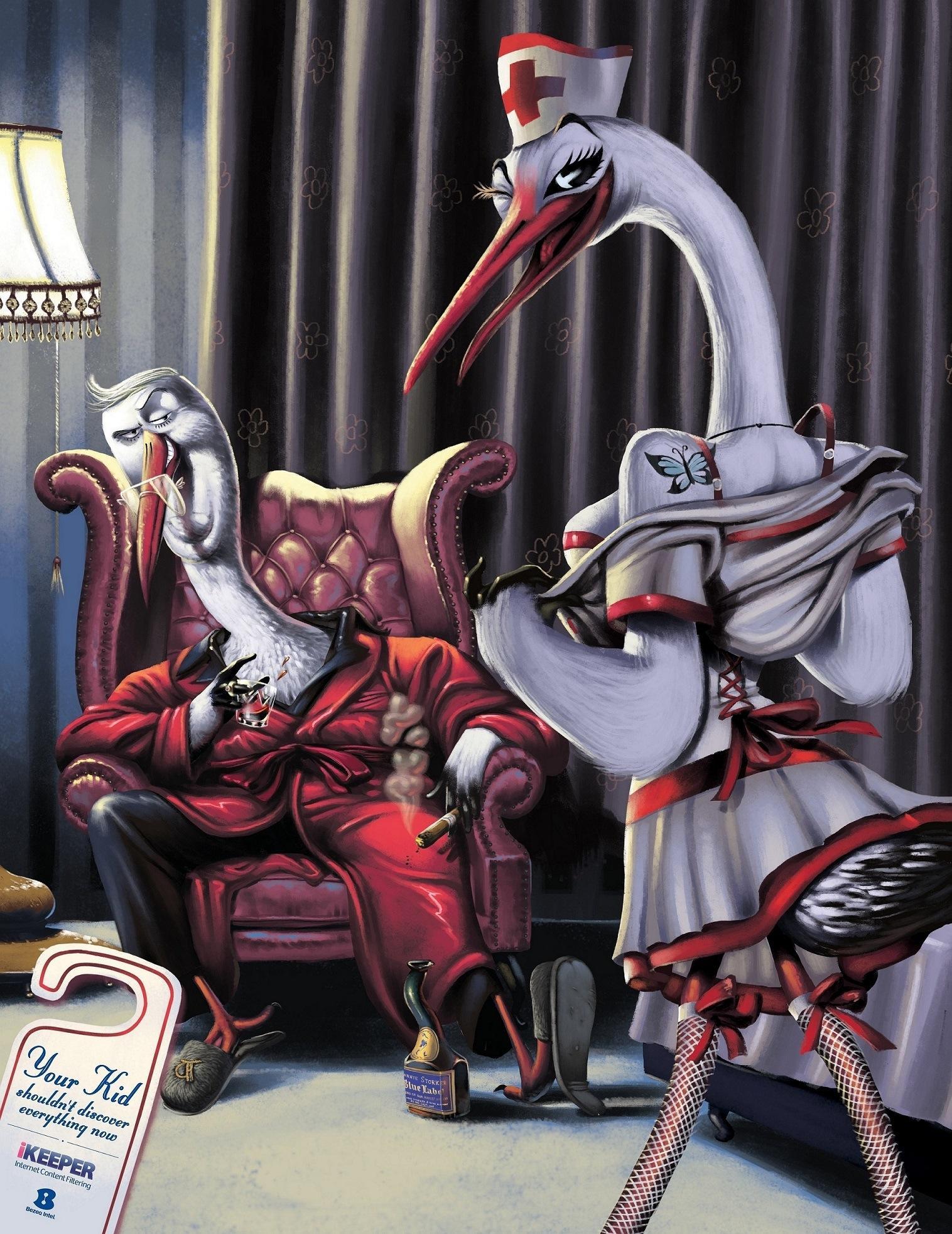 Bezeq Print Ad -  Storks