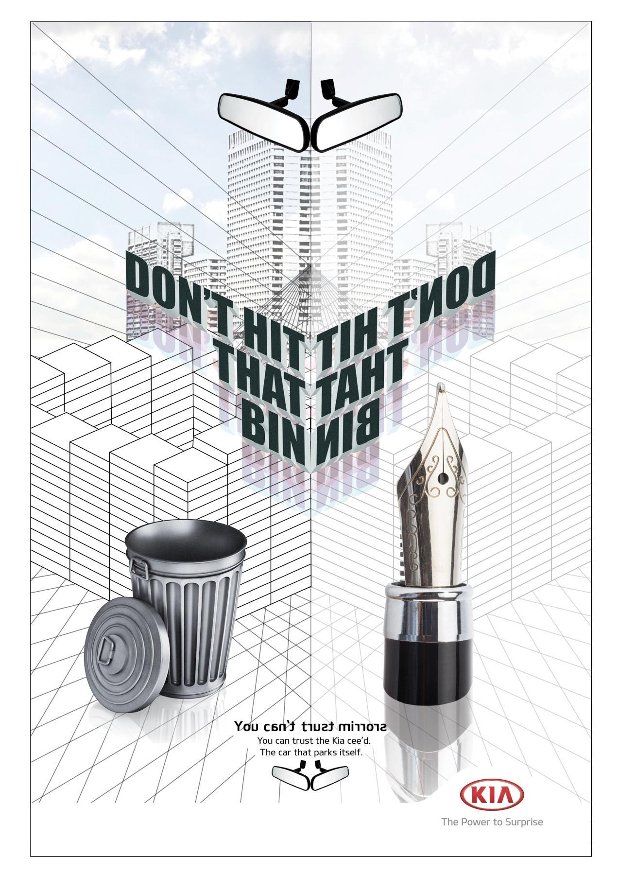 KIA Print Ad -  Backwards words, Bin - Nib