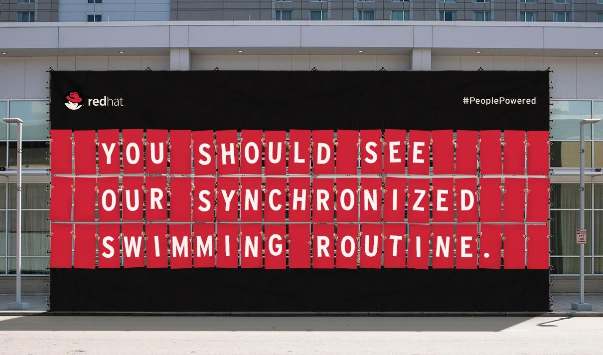 Red Hat Outdoor Ad -  People-powered billboard, 5