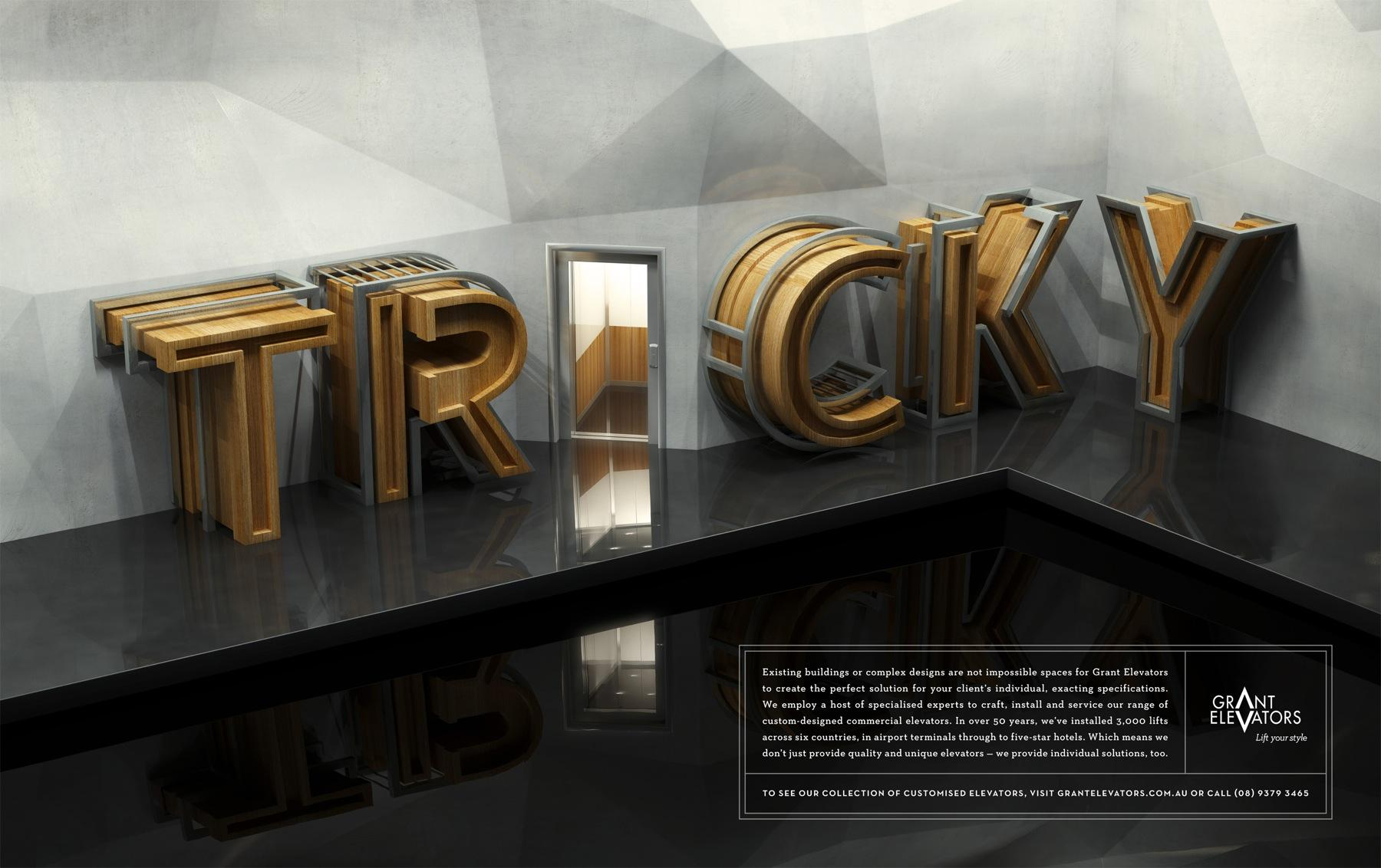 Grant Elevators Print Ad -  Tricky