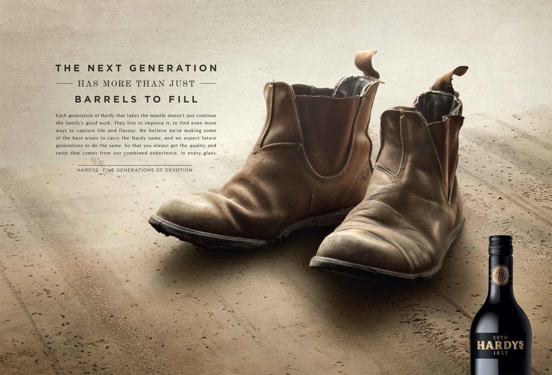 Hardys Wine Print Ad -  Boots