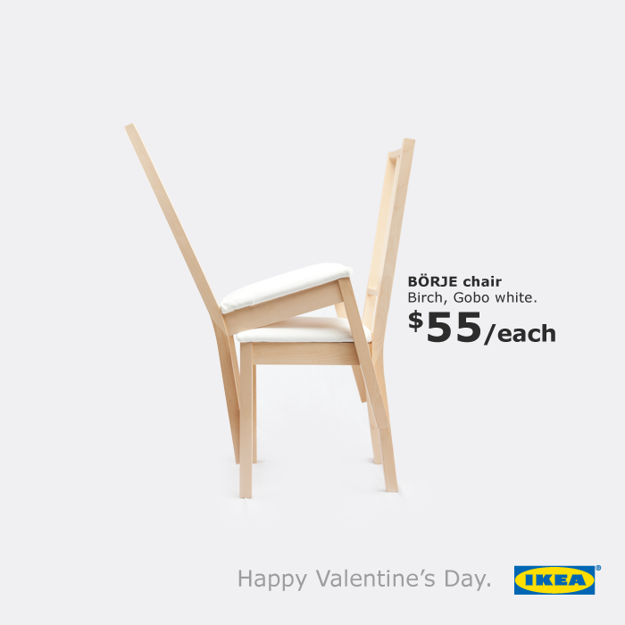 ikea outdoor advert by bbh valentine s day chairs ads of the world