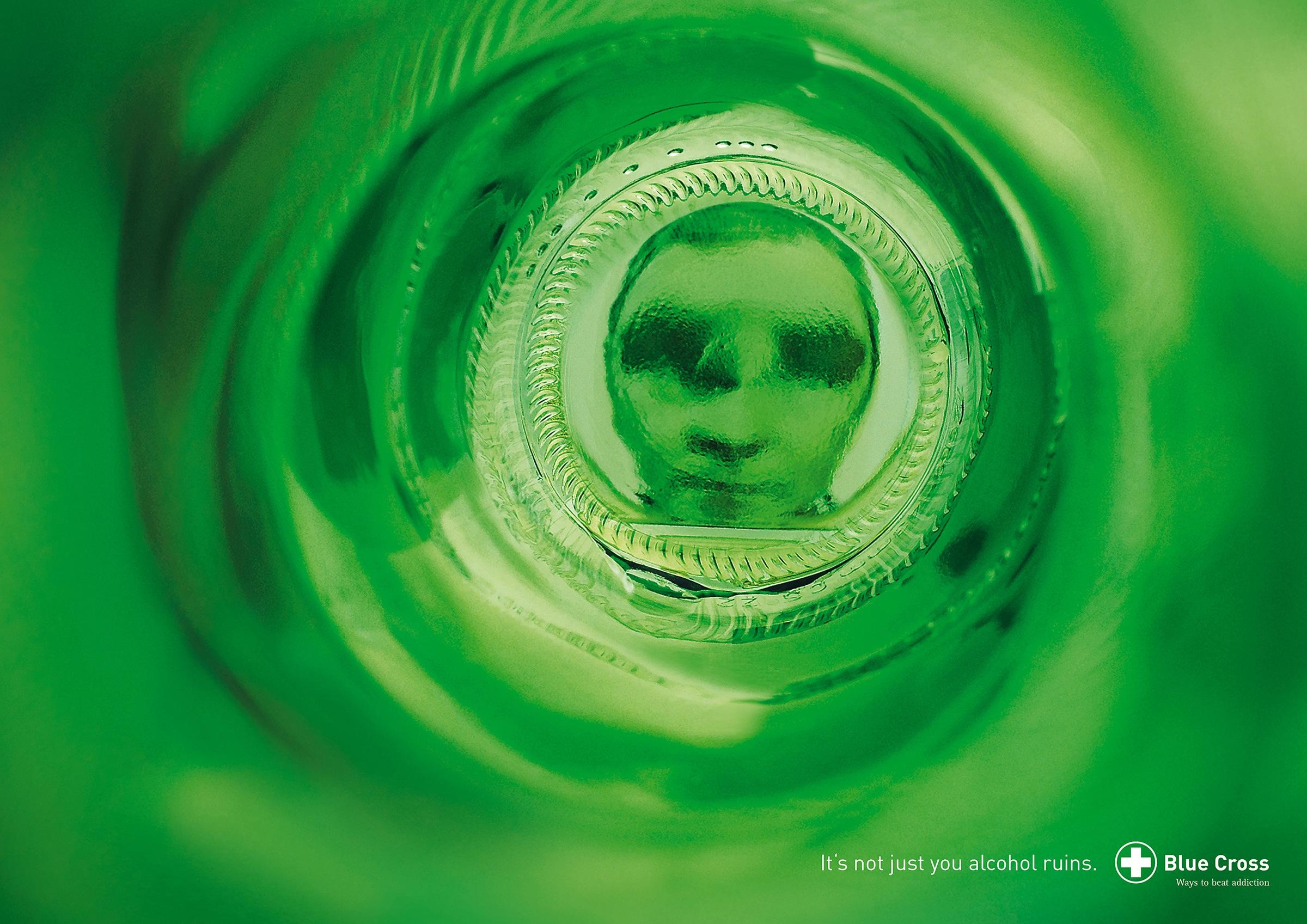 Blue Cross Print Ad -  Bottle Faces - Desperate