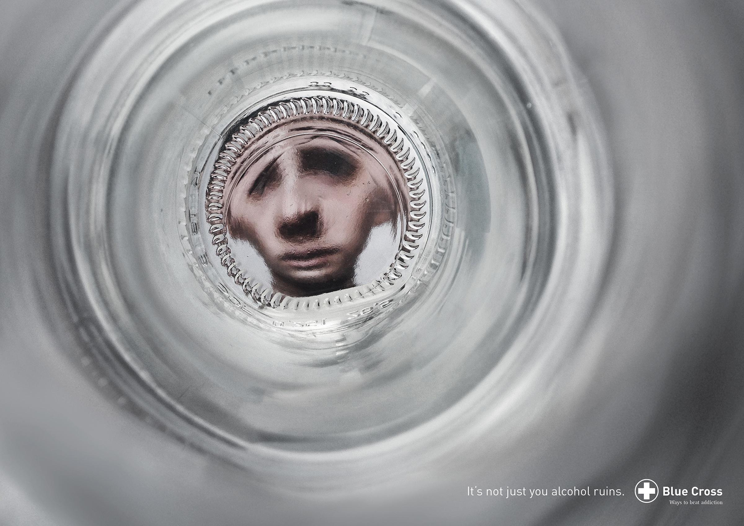 Blue Cross Print Ad -  Bottle Faces - Sad