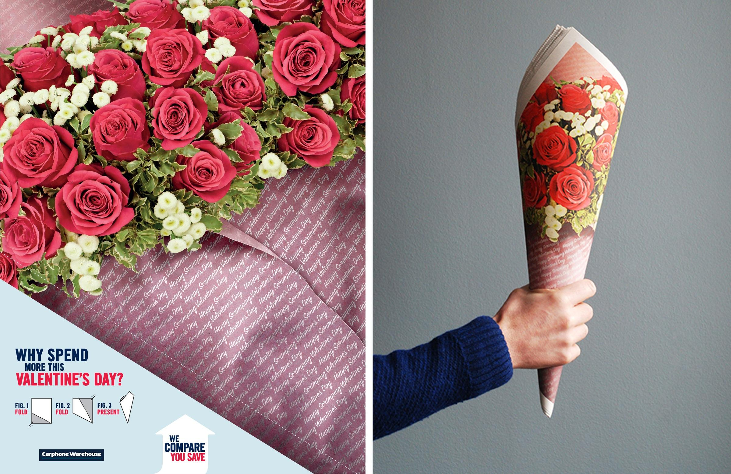 Carphone Warehouse Ambient Ad -  Scrimper's Valentine's Day bouquet