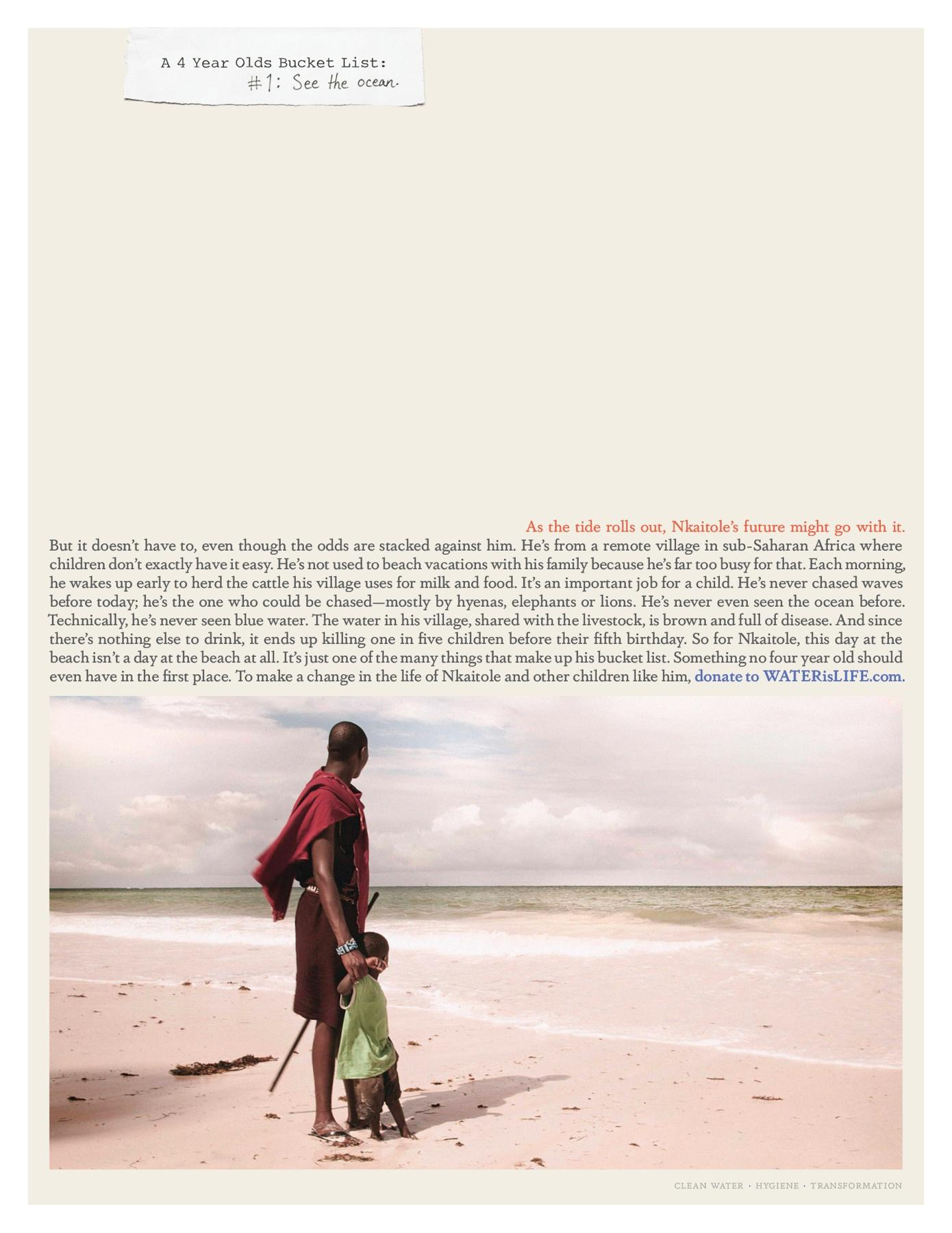 WATERisLIFE Print Ad -  A 4 year old's bucket list  #1  See the ocean