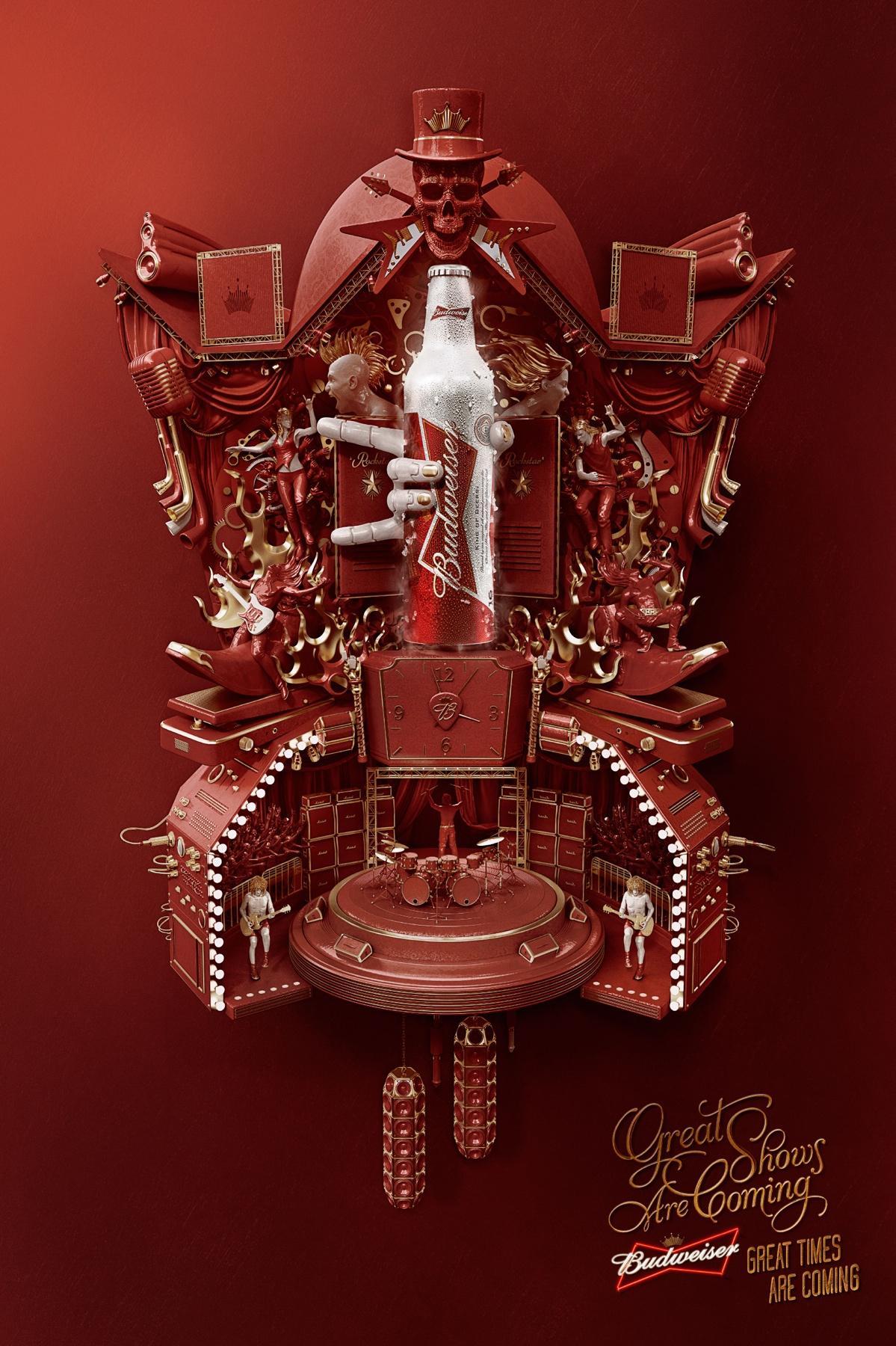 Budweiser Print Ad -  Cuckoo Clock, Music