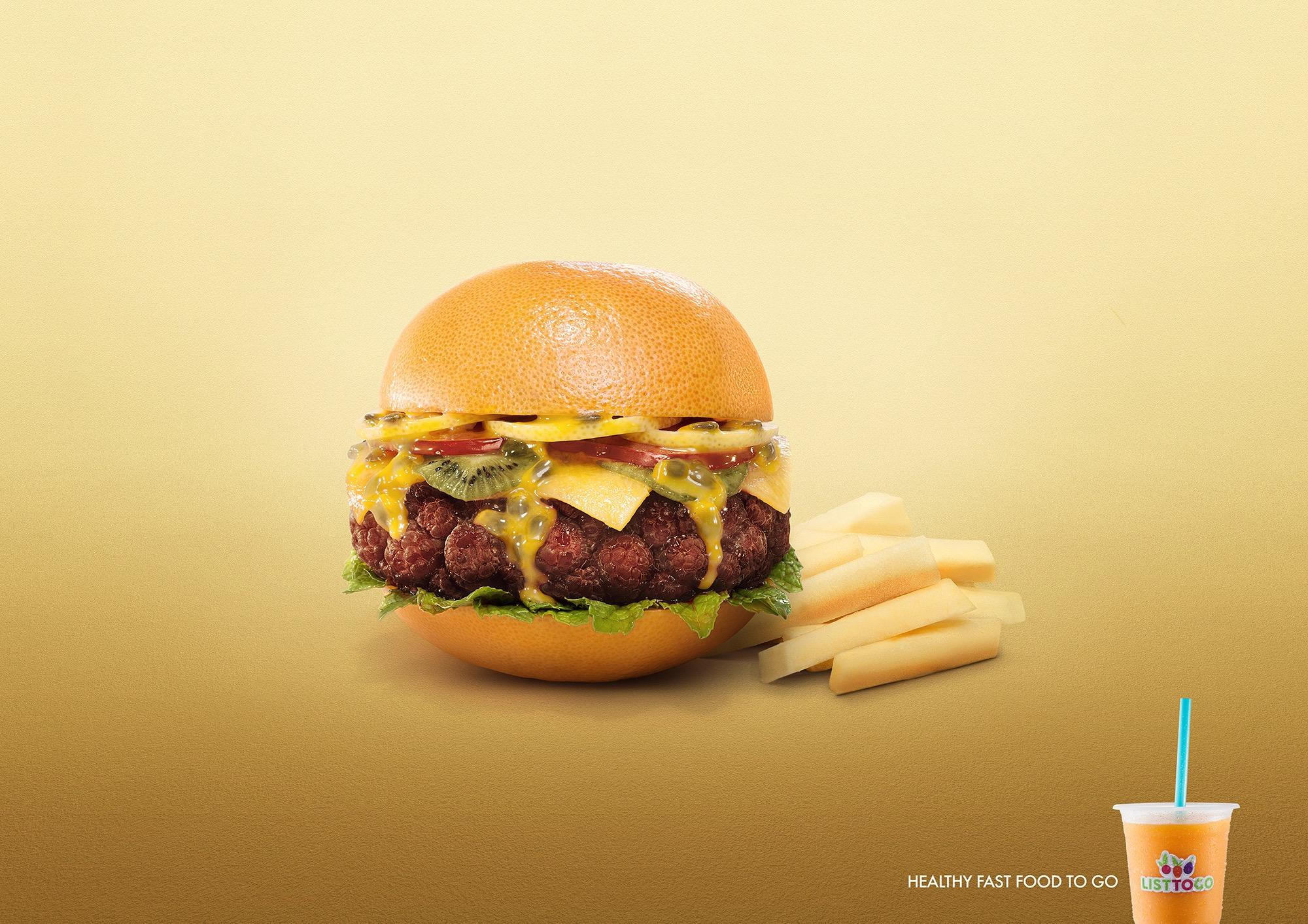 List To Go Print Ad -  Hamburger