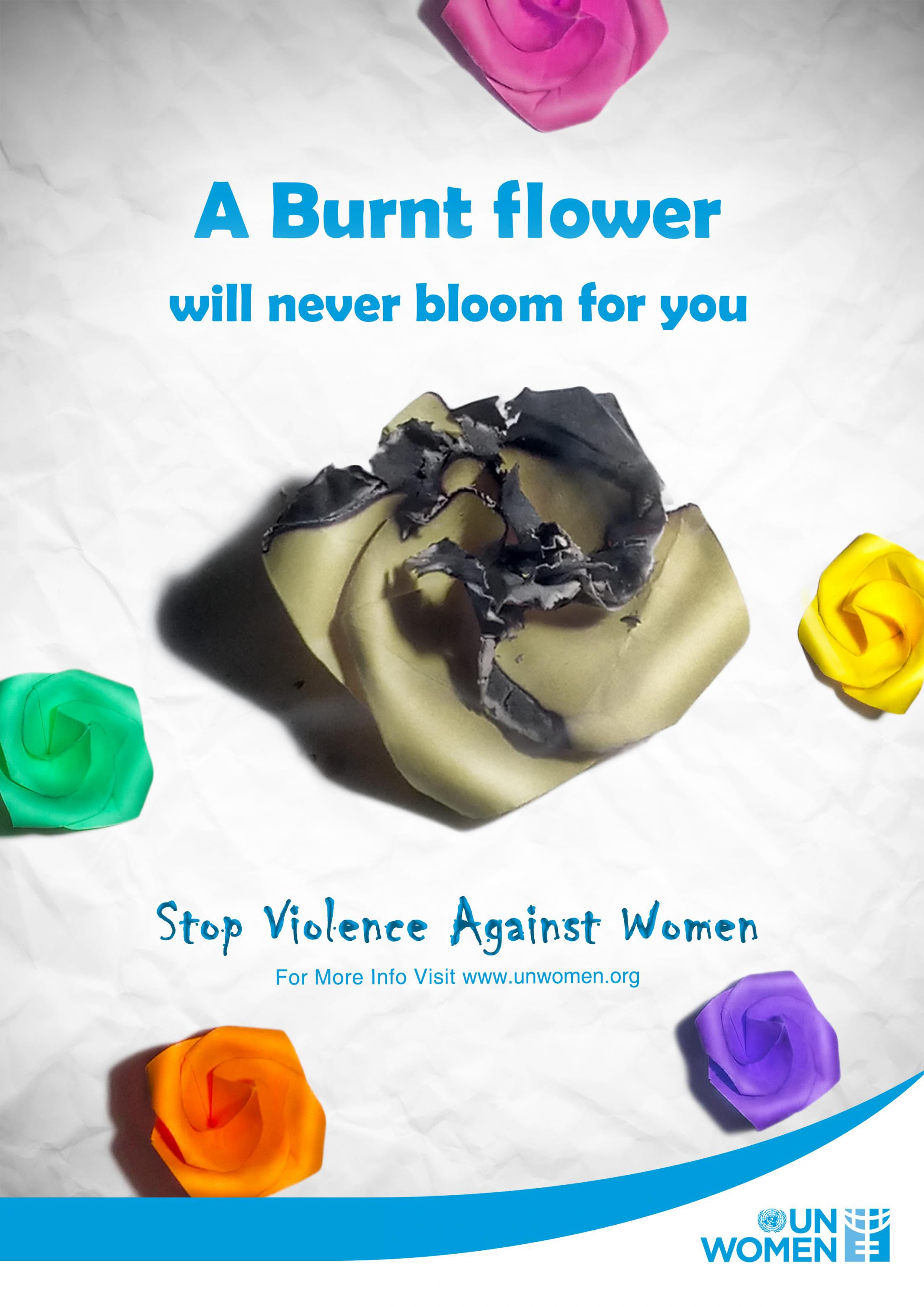 UN Women Print Ad - Never - Burnt Flower