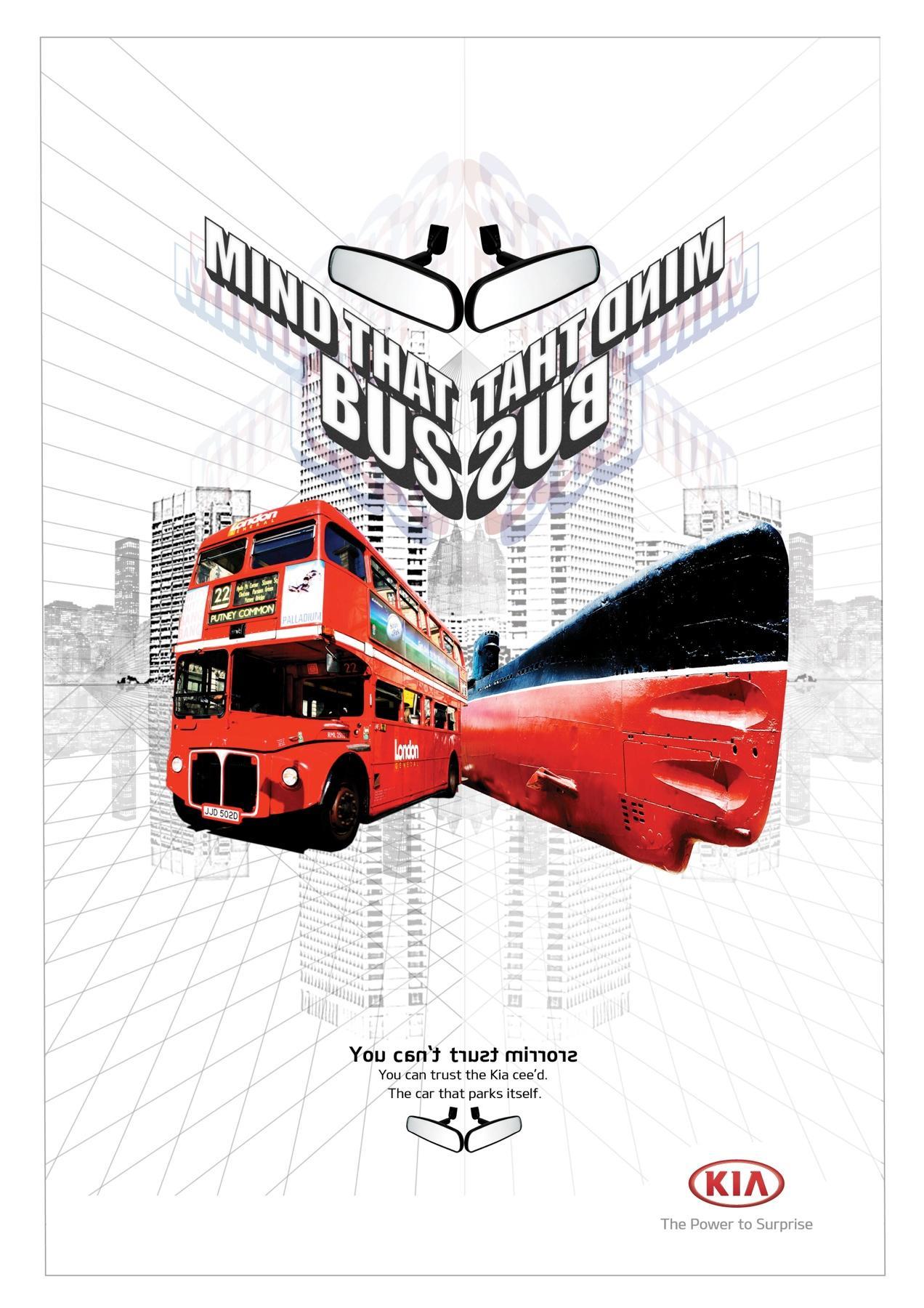 KIA Print Ad -  Backwards words, Bus - Sub