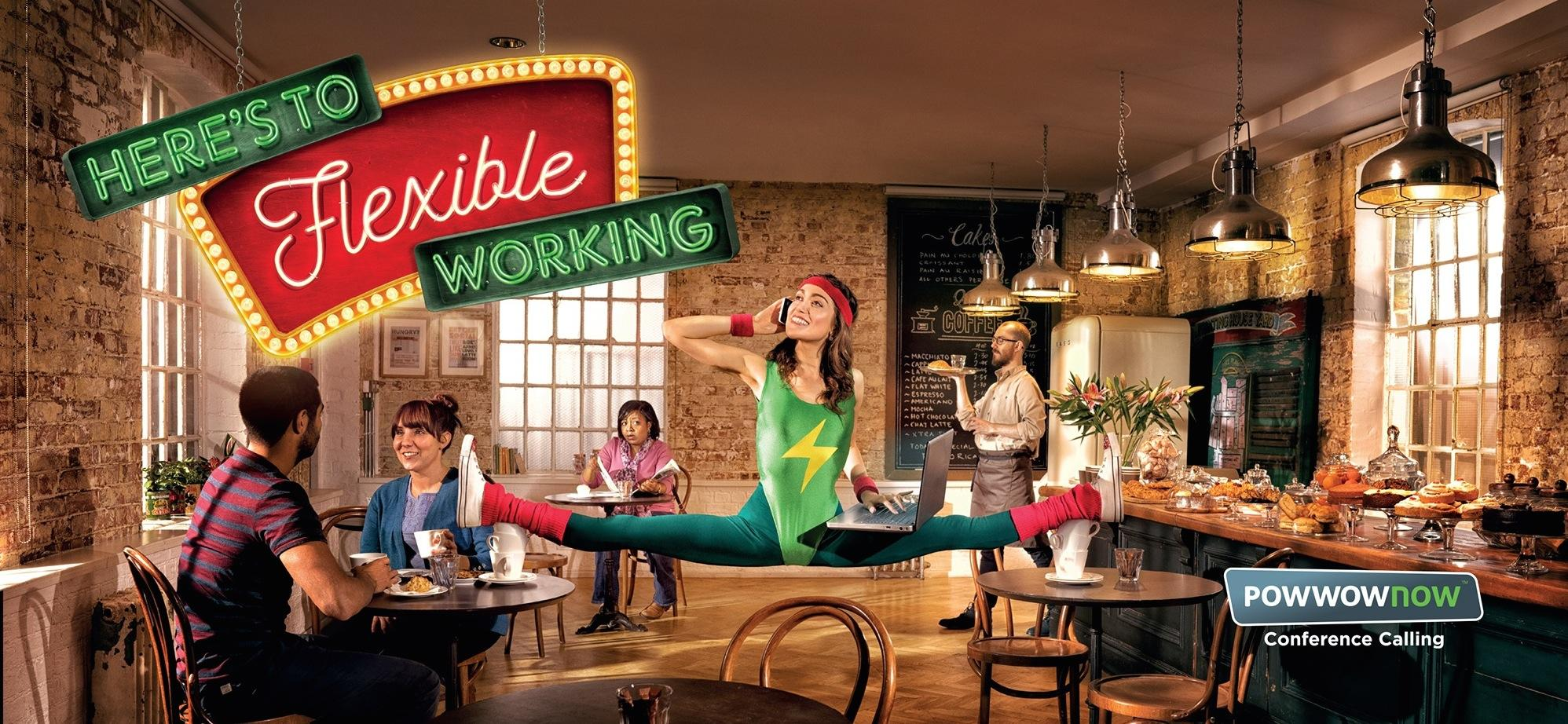 Powwownow Print Ad -  Here's to flexible working, 1