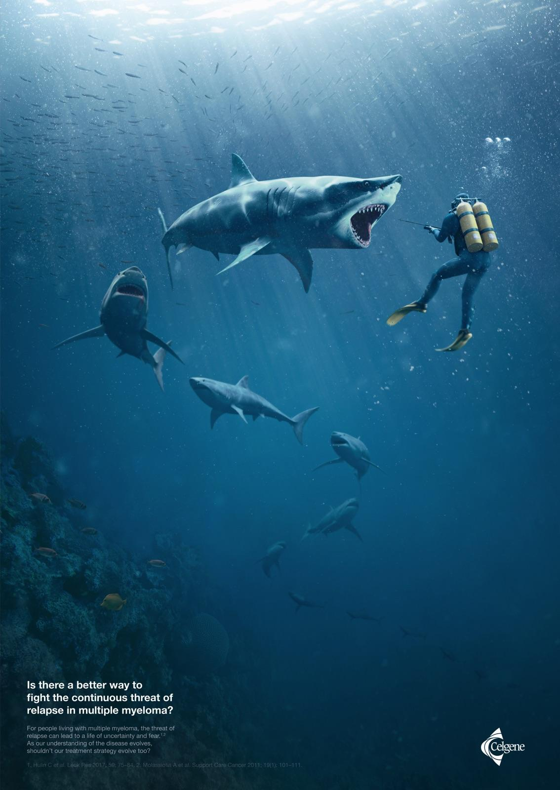 Celgene Print Ad - Continuous Threat - Sharks